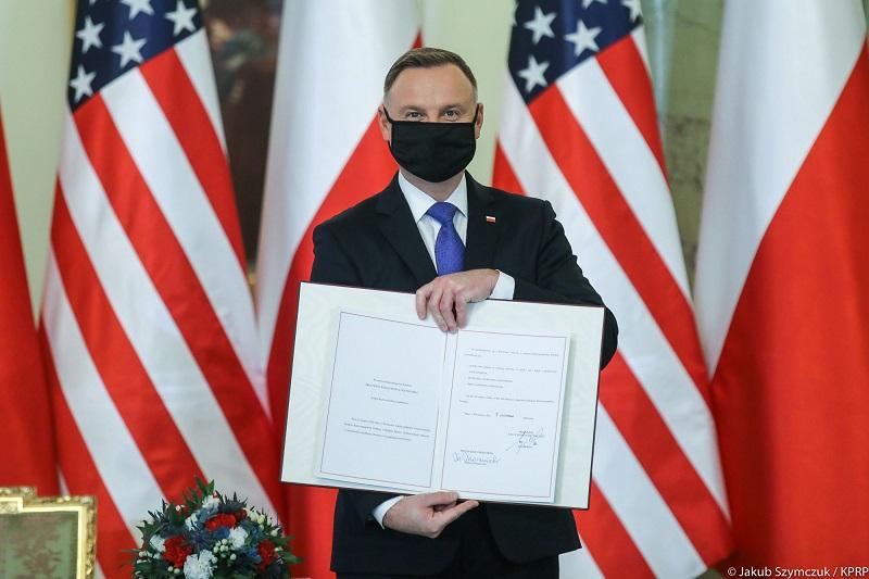 Prezydent Andrzej Duda z polsko-amerykańską umową o wzmocnionej współpracy obronnej, źródło Jakub Szymczuk KPRP