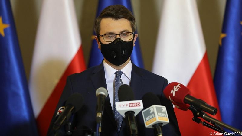 Rzecznik rządu Piotr Müller, konf. pras , źródło Adam Guz KPRM