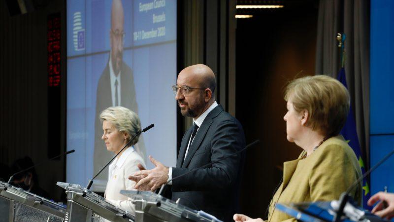 Konferencja prasowa po szczycie UE w Brukseli, źródło: European Union 2020