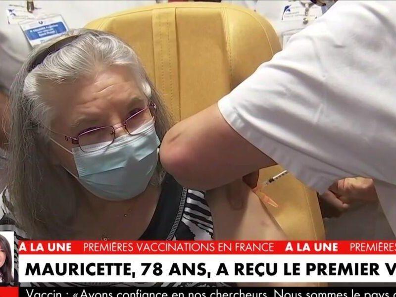 Mauricette - pierwsza zaszczepiona osoba we Francji. Źródło: Twitter Tele-Loisirs.fr