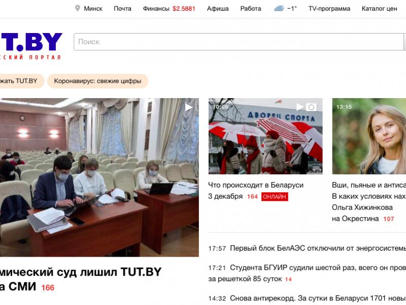 Portal TUT.by wyrósł na najważniejsze niezależne medium internetowe na Białorusi, źródło: tut.by