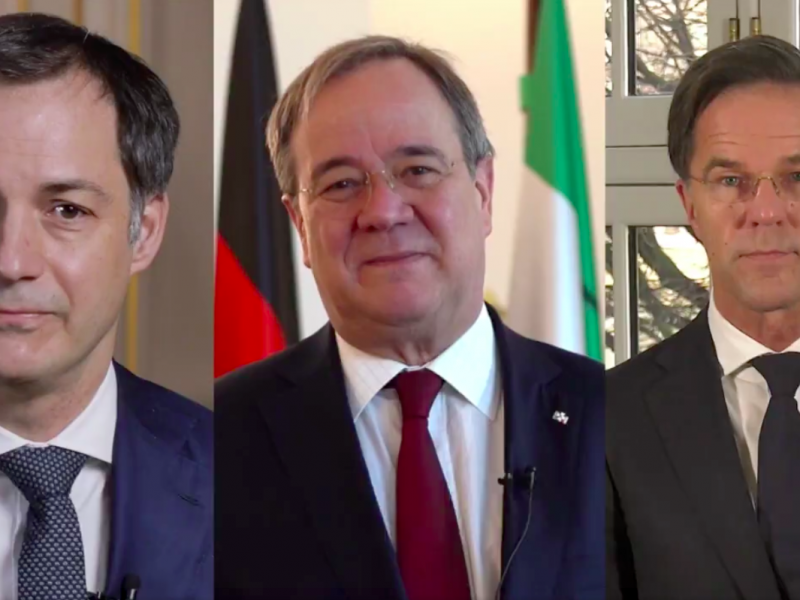 Premier Belgii Alexander De Croo, premier Nadrenii Północnej Westfalii Armin Laschet oraz premier Holandii Mark Rutte, źródło: Facebook/ Alexander De Croo (@alexanderdecroo)