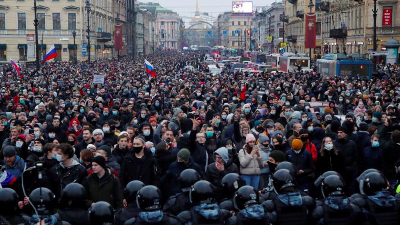 Protest w obronie Nawalnego w Moskwie, źródło: Twitter/Jim Roberts (@nycjim)