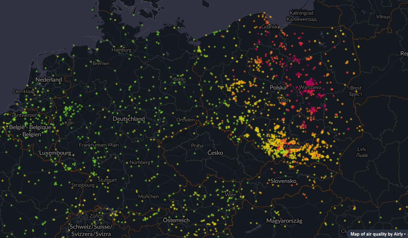mapa, powietrze, zanieczyszczenie