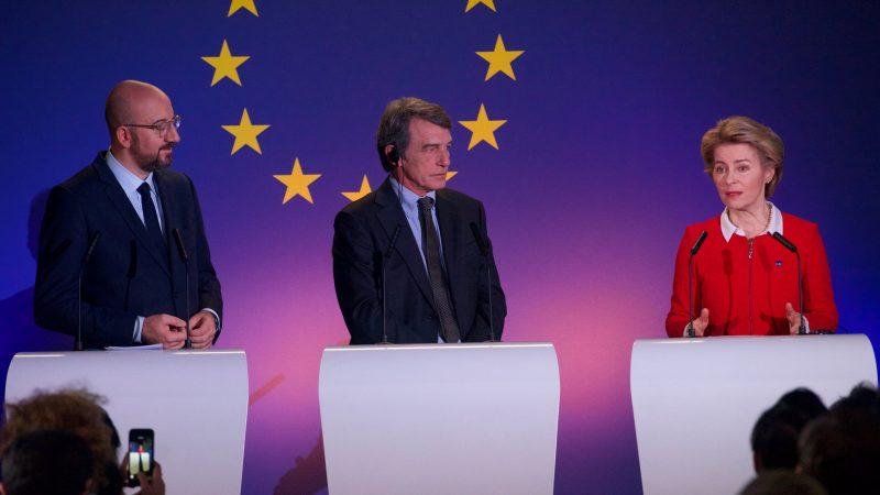 UE, Unia Europejska, Charles Michel, David Sassoli, Ursula von der Leyen, Rada Europejska, Komisja Europejska, Parlament Europejski, RE, KE, PE