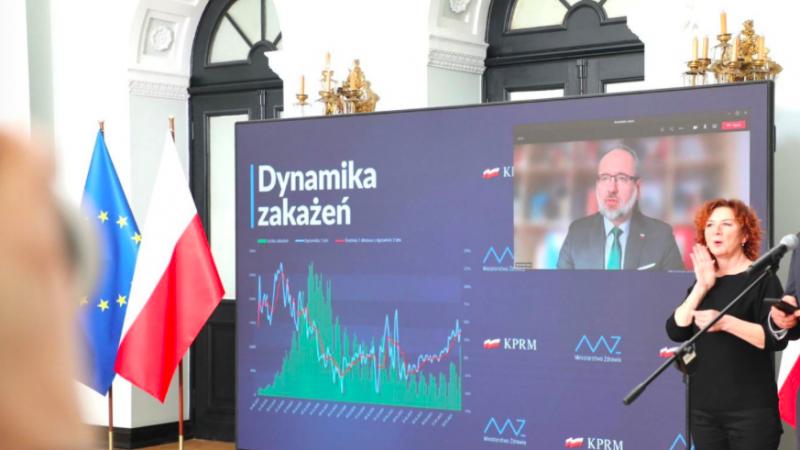 Konferencja prasowa ministra zdrowia Adama Niedzielskiego na temat obostrzeń przeciwepidemicznych w Polsce, źródło: Twitter/Ministerstwo Zdrowia (@MZ_GOV_PL)