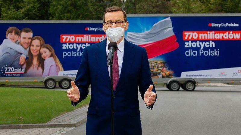 Premier Mateusz Morawiecki po przyjęciu rzadowego projektu ustawy o zasobach własnych, źródło Krystian Maj KPRM
