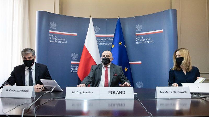 Wideokonferencja szefów dyplomacji państw UE-polska delegacja, źródło: Tymon Markowski MSZ