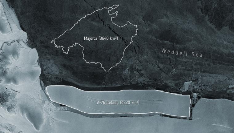 Góra lodowa A-76 ma ponad 4,3 tys. kilometrów kwadratowych powierzchni, źródło: Twitter/ESA EarthObservation (@ESA_EO)
