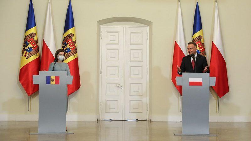 Konf. pras. prezydentów Mołdawii i Polski Mai Sandu i Andrzeja Dudy w Warszawie, źródło Igor Smirnow KPRP