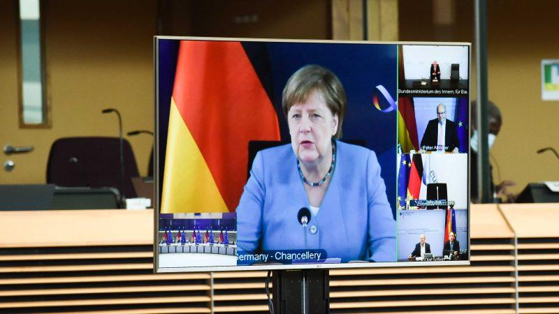 Kanclerz Niemiec Angela Merkel podczas wideokonferencji, źródło: EC - Audiovisual Service/European Union 2020, fot. Jennifer Jacquemart