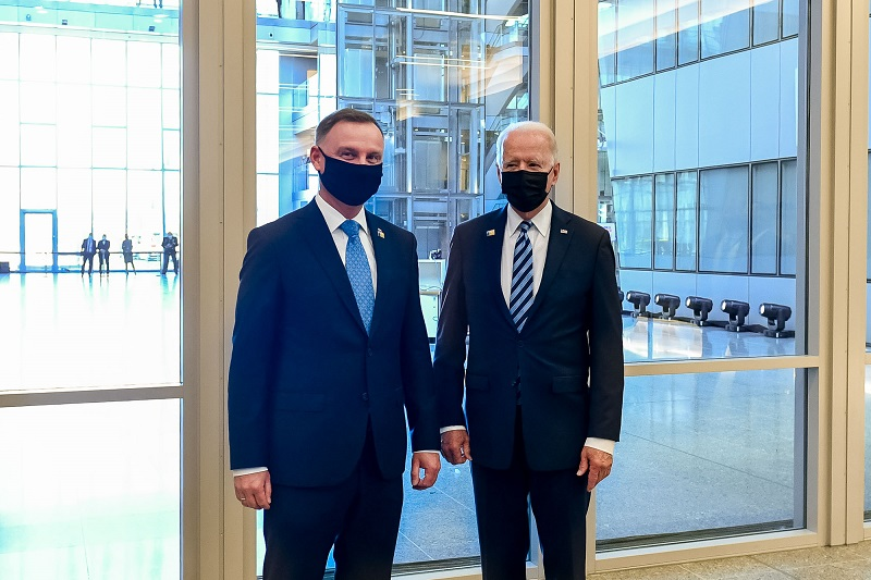 Prezydenci USA i Polski - Joe Biden i Andrzej Duda na szczycie NATO` 21 w Brukseli, źródło Wojciech Król, www.prezydent.pl