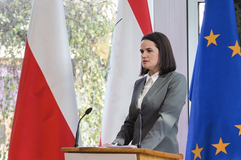 Swiatłana Cichanouska w Warszawie, źródło twitter @Tsikhanouskaya