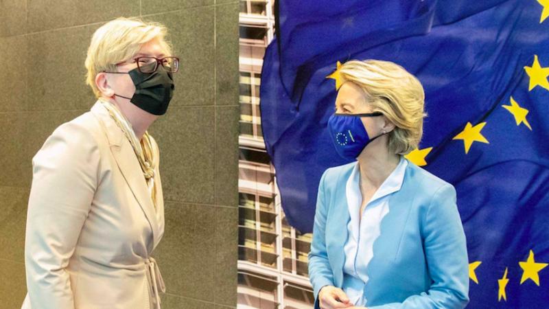 Premier Litwy Ingrida Šimonytė i przewodnicząca Komisji Europejskiej Ursula von der Leyen, źrodło: Twitter/Ingrida Šimonytė (@IngridaSimonyte)