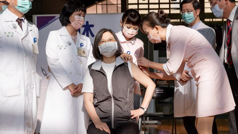 President Tsai Ing-wen recieving firs dose of taiwanese vaccine