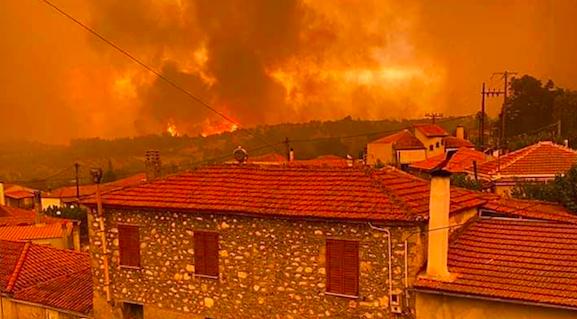 Pożary na Eubei, źródło: Twitter/Exiled Arizona (@exiledarizona)