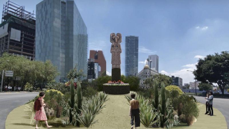 Tak według wizji władz miasta Meksyk ma wyglądać fragment Paseo de la Reforma z pomnikiem upamiętniającym kobiety z rdzennych społeczności, źródło: Gobierno de la Ciudad de Mexico