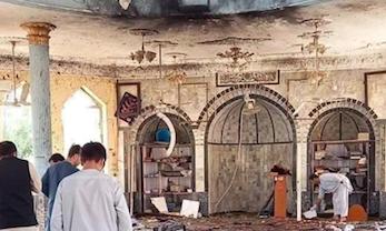 Zaatakowany bombą szyicki meczet w Kunduzie, źródło: Twitter/Hasiba Atakpal - حسیبه اټکپال (@HasebaAtakpal)