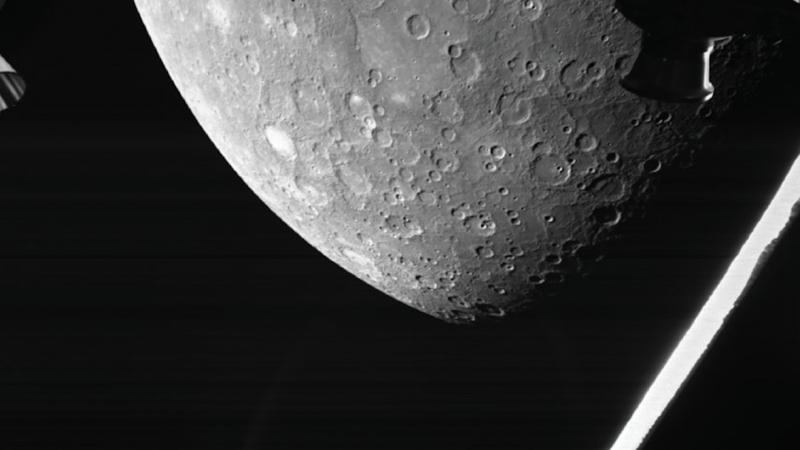 Zdjęcie powierzchni Merkurego przesłane przez sondę BepiColombo, źródło: Europejska Agencja Kosmiczna